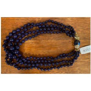 JCF Navy Beaded Necklace with Beetle Clasp - NWT